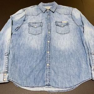 Lucky Brand Men's Western Denim Blue Button Snap L